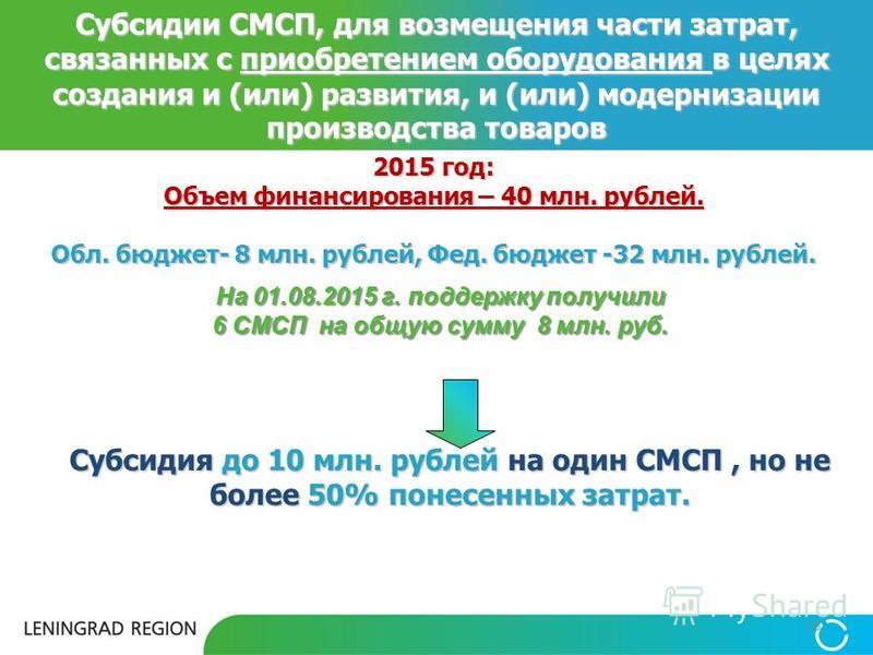 2015 год: Объем финансирования – 40 млн. рублей. Обл. бюджет- 8 млн. рублей, Фед. бюджет -32 млн. рублей. 18 Субсидии СМСП, для возмещения части затрат, связанных с приобретением оборудования в целях создания и (или) развития, и (или) модернизации пр