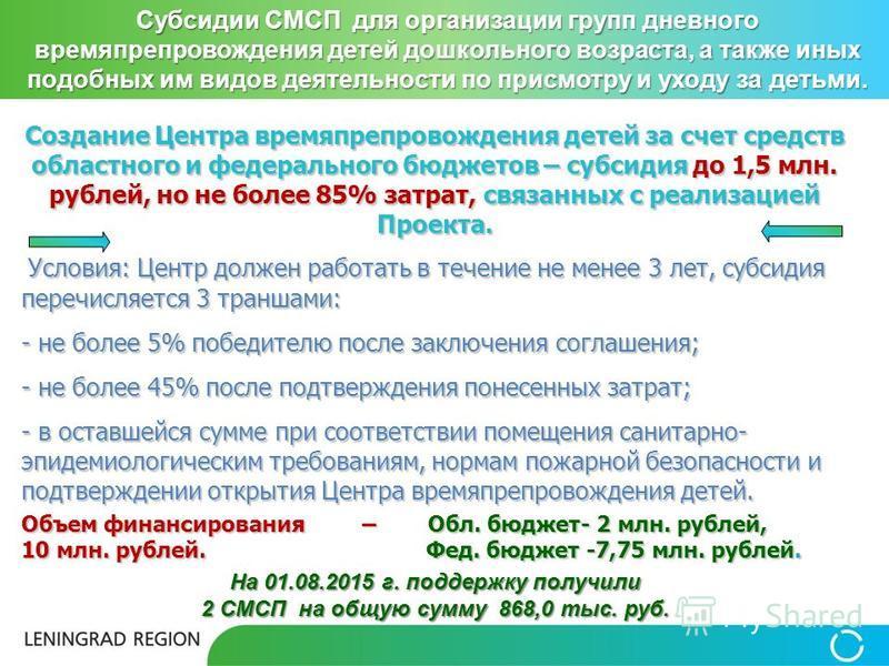 Создание Центра времяпрепровождения детей за счет средств областного и федерального бюджетов – субсидия до 1,5 млн. рублей, но не более 85% затрат, связанных с реализацией Проекта. Условия: Центр должен работать в течение не менее 3 лет, субсидия пер