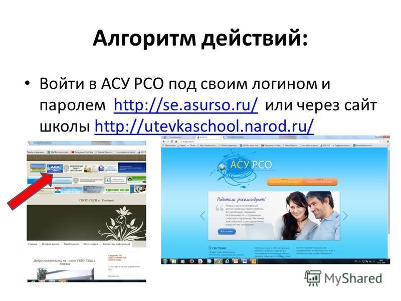 Алгоритм действий: Войти в АСУ РСО под своим логином и паролем http://se.asurso.ru/ или через сайт школы http://utevkaschool.narod.ru/http://se.asurso.ru/http://utevkaschool.narod.ru/