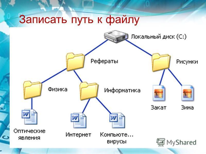 Записать путь к файлу