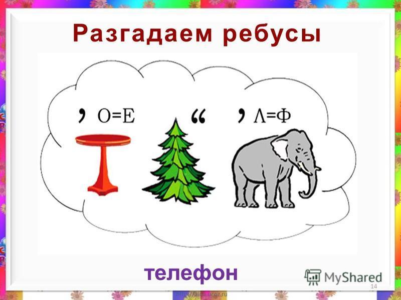Разгадаем ребусы 13 стол ель слон е ф