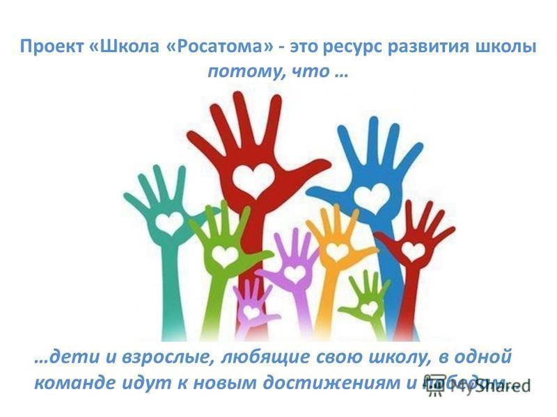 Проект «Школа «Росатома» - это ресурс развития школы потому, что … …дети и взрослые, любящие свою школу, в одной команде идут к новым достижениям и победам…