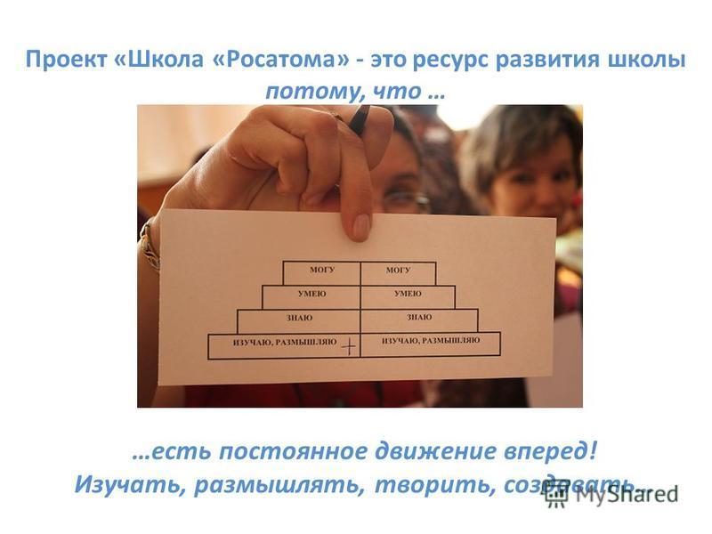 Проект «Школа «Росатома» - это ресурс развития школы потому, что … …есть постоянное движение вперед! Изучать, размышлять, творить, создавать…