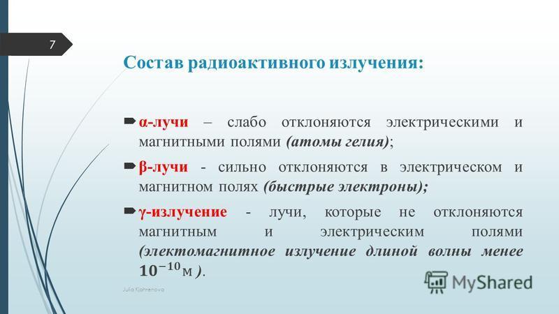 Состав радиоактивного излучения: Julia Kjahrenova 7