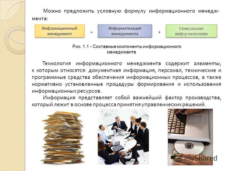 + Информационный менеджмент Информатизация менеджмента Менеджмент информатизации = Можно предложить условную формулу информационного менеджмента: Рис. 1.1 - Составные компоненты информационного менеджмента Технология информационного менеджмента содер