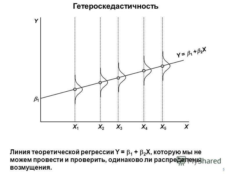 Гетероскедастичность 1 X Y = 1 + 2 X Y 5 Линия теоретической регрессии Y = 1 + 2 X, которую мы не можем провести и проверить, одинаково ли распределены возмущения. X3X3 X5X5 X4X4 X1X1 X2X2