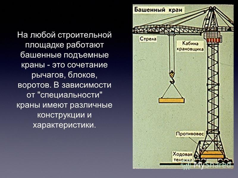 На любой строительной площадке работают башенные подъемные краны - это сочетание рычагов, блоков, воротов. В зависимости от специальности краны имеют различные конструкции и характеристики.