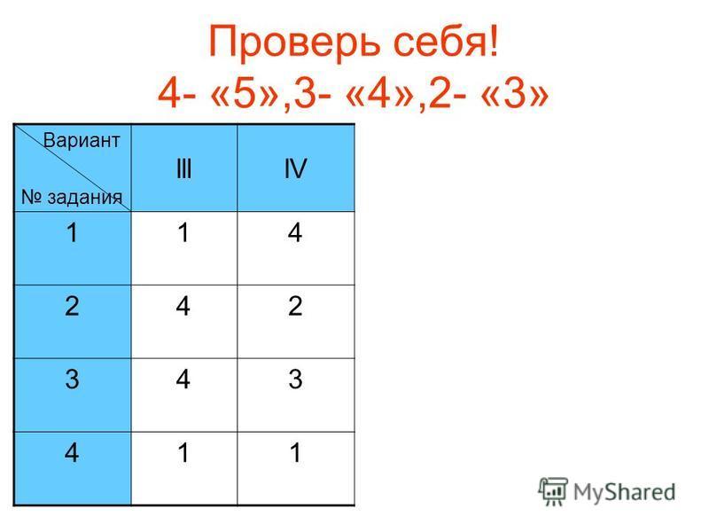Проверь себя! 4- «5»,3- «4»,2- «3» Вариант задания llllV 114 242 343 411