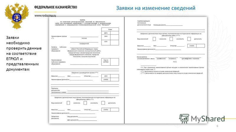 6 Заявки на изменение сведений Заявки необходимо проверить данные на соответствие ЕГРЮЛ и представленным документам