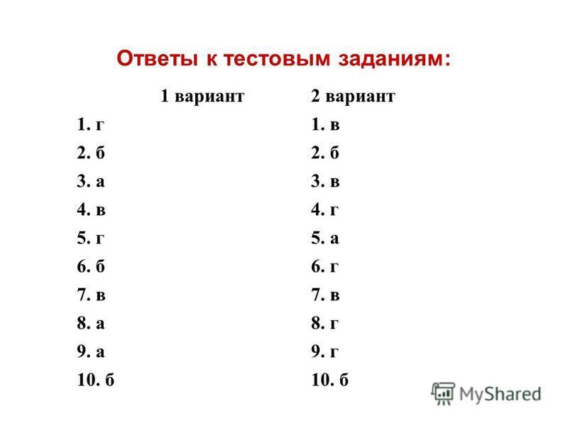 Ответы к тестовым заданиям: 1 вариант 2 вариант 1. г 1. в 2. б 3. а 3. в 4. в 4. г 5. г 5. а 6. б 6. г 7. в 8. а 8. г 9. а 9. г 10. б