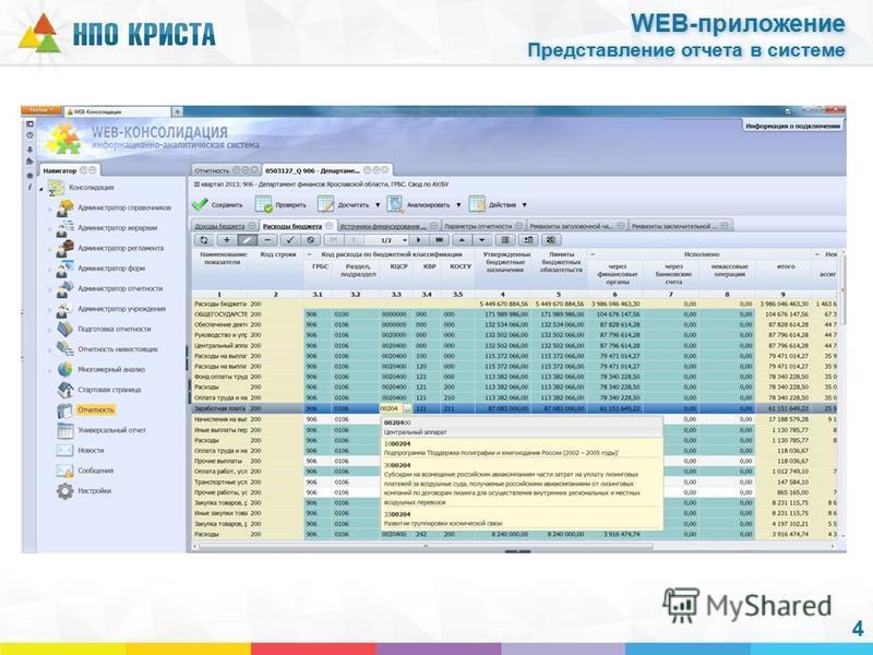 4 WEB-приложение Представление отчета в системе