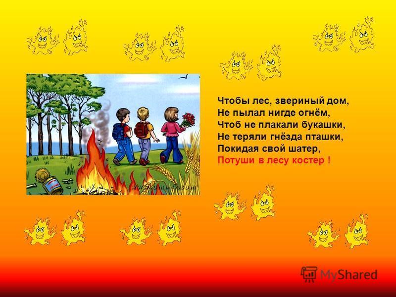 Чтобы лес, звериный дом, Не пылал нигде огнём, Чтоб не плакали букашки, Не теряли гнёзда пташки, Покидая свой шатер, Потуши в лесу костер !