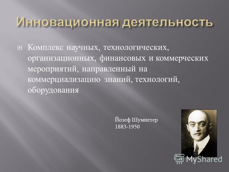 Комплекс научных, технологических, организационных, финансовых и коммерческих мероприятий, направленный на коммерциализацию знаний, технологий, оборудования Йозеф Шумпетер 1883-1950
