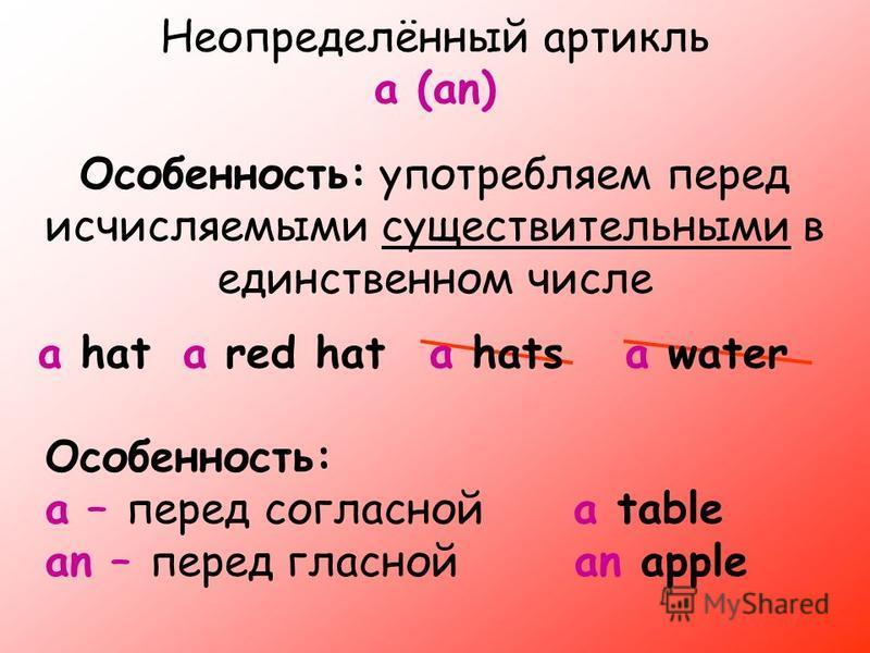 Неопределённый артикль a (an) Особенность: употребляем перед исчисляемыми существительными в единственном числе a hat Особенность: a – перед согласной a table an – перед гласной an apple a red hata hatsa water