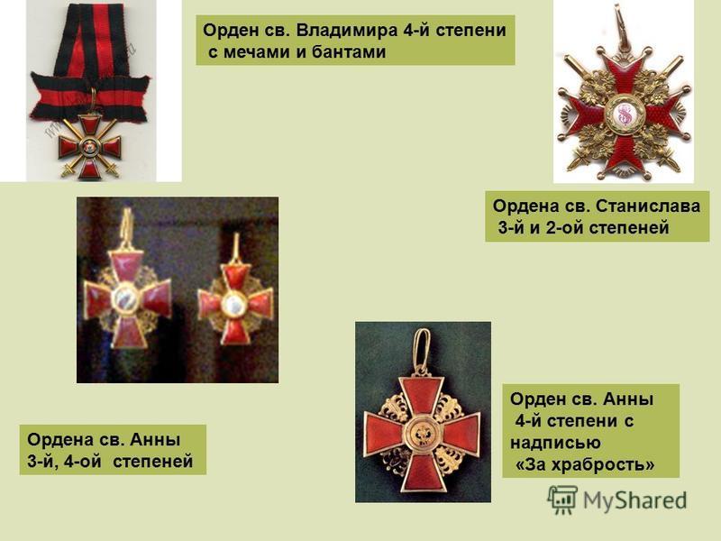 Орден св. Владимира 4-й степени с мечами и бантами Ордена св. Станислава 3-й и 2-ой степеней Ордена св. Анны 3-й, 4-ой степеней Орден св. Анны 4-й степени с надписью «За храбрость»