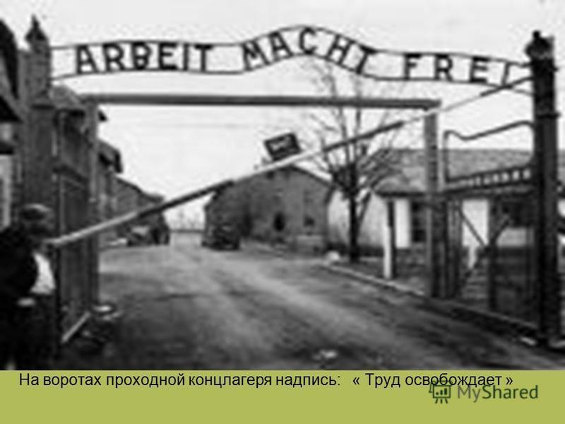 На воротах проходной концлагеря надпись: « Труд освобождает »
