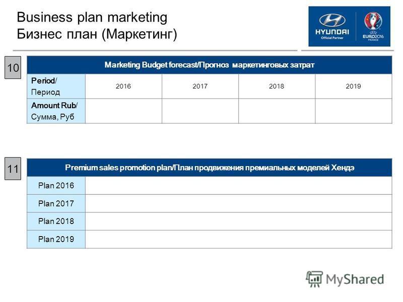 Business plan marketing Бизнес план (Маркетинг) Marketing Budget forecast/Прогноз маркетинговых затрат Period/ Период 2016201720182019 Amount Rub/ Сумма, Руб 10 1 Premium sales promotion plan/План продвижения премиальных моделей Хендэ Plan 2016 Plan