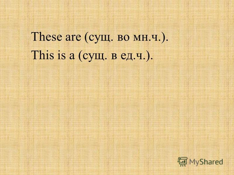 These are (сущ. во мн.ч.). This is a (сущ. в ед.ч.).