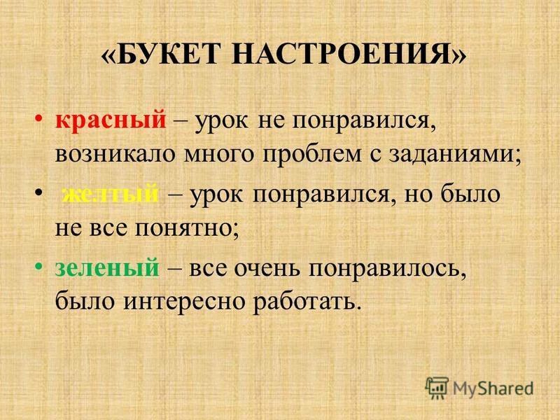 «БУКЕТ НАСТРОЕНИЯ» красный – урок не понравился, возникало много проблем с заданиями; желтый – урок понравился, но было не все понятно; зеленый – все очень понравилось, было интересно работать.