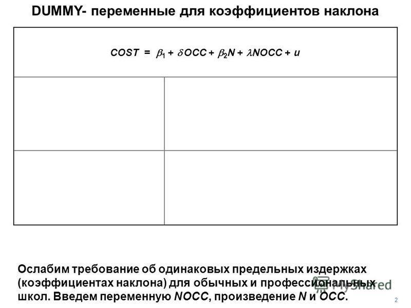 DUMMY- переменные для коэффициентов наклона 2 Ослабим требование об одинаковых предельных издержках (коэффициентах наклона) для обычных и профессиональных школ. Введем переменную NOCC, произведение N и OCC. COST = 1 + OCC + 2 N + NOCC + u