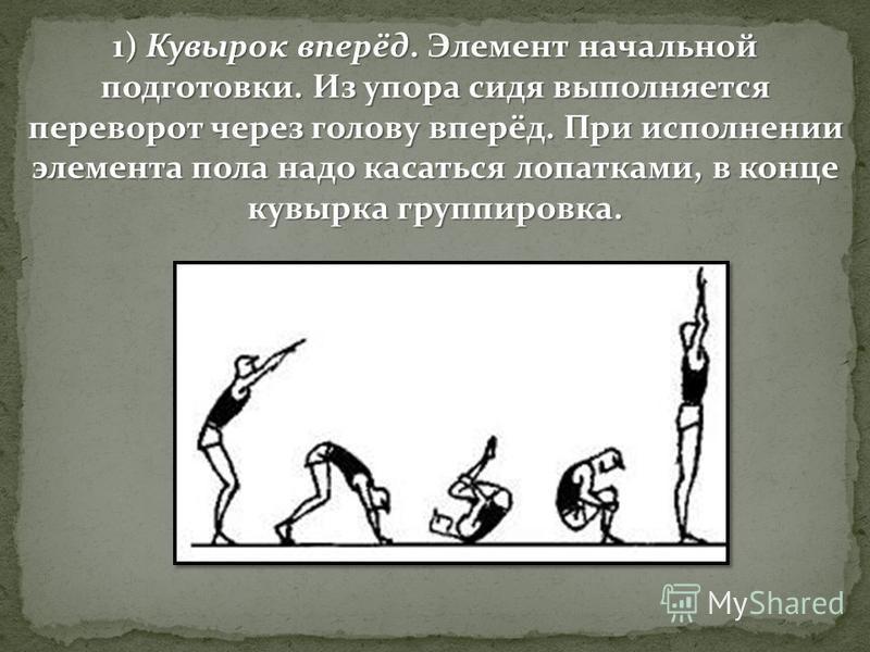 1) Кувырок вперёд. Элемент начальной подготовки. Из упора сидя выполняется переворот через голову вперёд. При исполнении элемента пола надо касаться лопатками, в конце кувырка группировка.