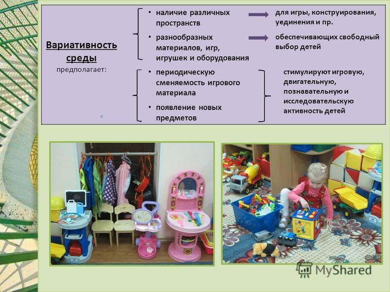 Вариативность среды предполагает: наличие различных пространств для игры, конструирования, уединения и пр. разнообразных материалов, игр, игрушек и оборудования обеспечивающих свободный выбор детей периодическую сменяемость игрового материала стимули