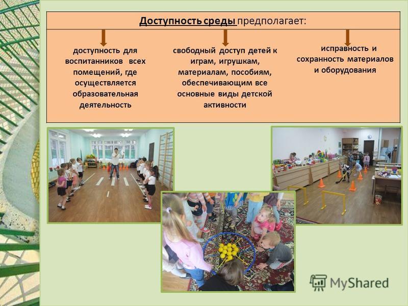 Доступность среды предполагает: доступность для воспитанников всех помещений, где осуществляется образовательная деятельность свободный доступ детей к играм, игрушкам, материалам, пособиям, обеспечивающим все основные виды детской активности исправно