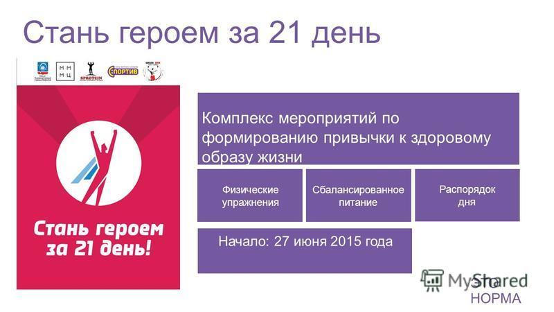 Стань героем за 21 день ЭТО НОРМА Комплекс мероприятий по формированию привычки к здоровому образу жизни Физические упражнения Сбалансированное питание Распорядок дня ЭТО НОРМА Начало: 27 июня 2015 года