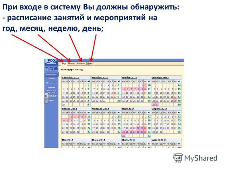 При входе в систему Вы должны обнаружить: - расписание занятий и мероприятий на год, месяц, неделю, день;