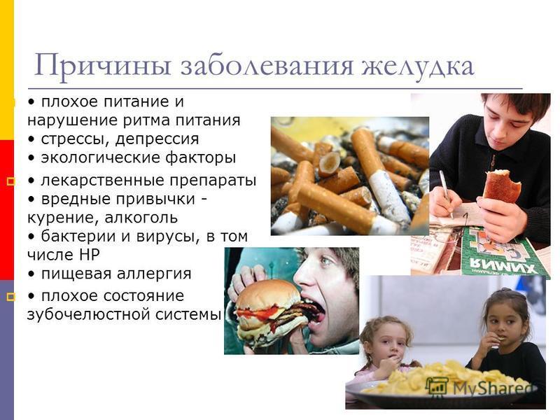 Причины заболевания желудка плохое питание и нарушение ритма питания стрессы, депрессия экологические факторы лекарственные препараты вредные привычки - курение, алкоголь бактерии и вирусы, в том числе НР пищевая аллергия плохое состояние зубочелюстн