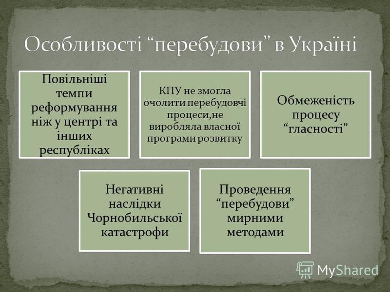 Повільніші темпи реформування ніж у центрі та інших республіках КПУ не змогла очолити перебудовчі процеси,не виробляла власної програми розвитку Обмеженість процесу гласності Негативні наслідки Чорнобильської катастрофи Проведення перебудови мирними