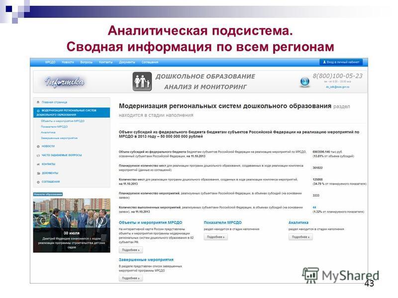 Аналитическая подсистема. Сводная информация по всем регионам 43