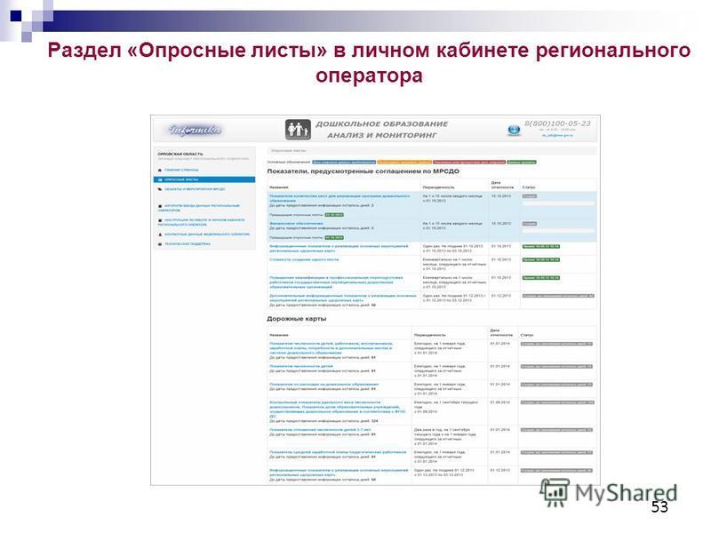 Раздел «Опросные листы» в личном кабинете регионального оператора 53