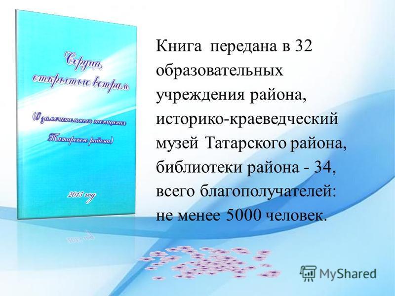 Книга передана в 32 образовательных учреждения района, историко-краеведческий музей Татарского района, библиотеки района - 34, всего благополучателей: не менее 5000 человек.