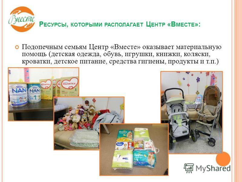 Подопечным семьям Центр «Вместе» оказывает материальную помощь (детская одежда, обувь, игрушки, книжки, коляски, кроватки, детское питание, средства гигиены, продукты и т.п.) Р ЕСУРСЫ, КОТОРЫМИ РАСПОЛАГАЕТ Ц ЕНТР «В МЕСТЕ »: