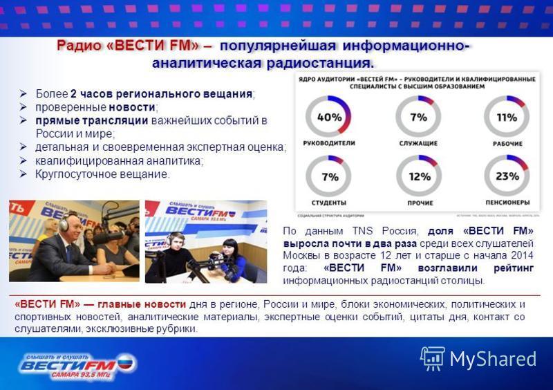 Радио «ВЕСТИ FM» – популярнейшая информационно- аналитическая радиостанция. Более 2 часов регионального вещания; проверенные новости; прямые трансляции важнейших событий в России и мире; детальная и своевременная экспертная оценка; квалифицированная