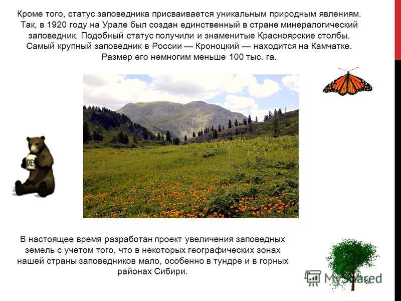 Кроме того, статус заповедника присваивается уникальным природным явлениям. Так, в 1920 году на Урале был создан единственный в стране минералогический заповедник. Подобный статус получили и знаменитые Красноярские столбы. Самый крупный заповедник в