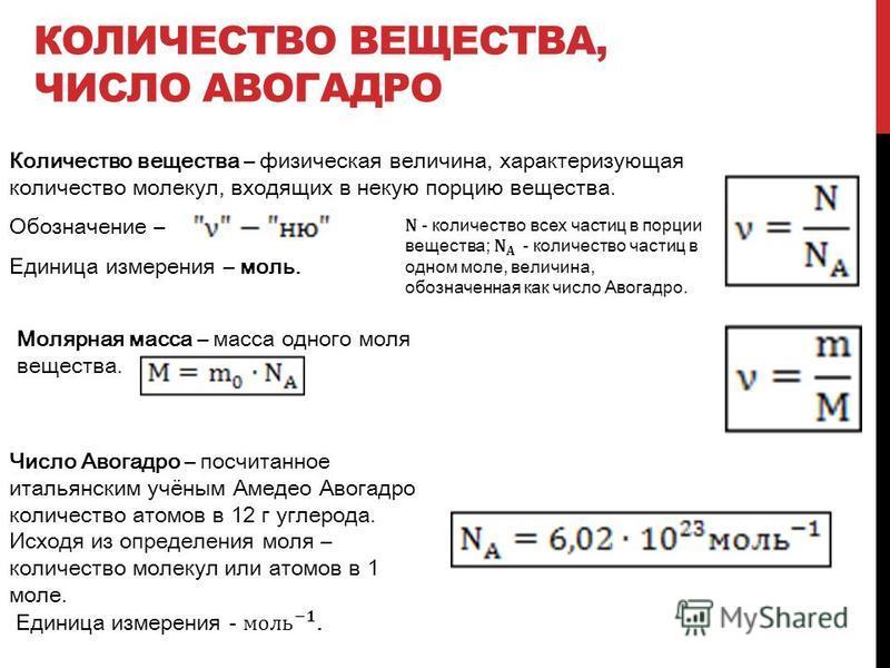 КОЛИЧЕСТВО ВЕЩЕСТВА, ЧИСЛО АВОГАДРО Количество вещества – физическая величина, характеризующая количество молекул, входящих в некую порцию вещества. Обозначение – Единица измерения – моль. Молярная масса – масса одного моля вещества.