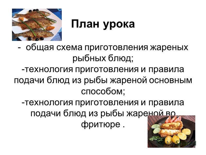 План урока - общая схема приготовления жареных рыбных блюд; -технология приготовления и правила подачи блюд из рыбы жареной основным способом; -технология приготовления и правила подачи блюд из рыбы жареной во фритюре.