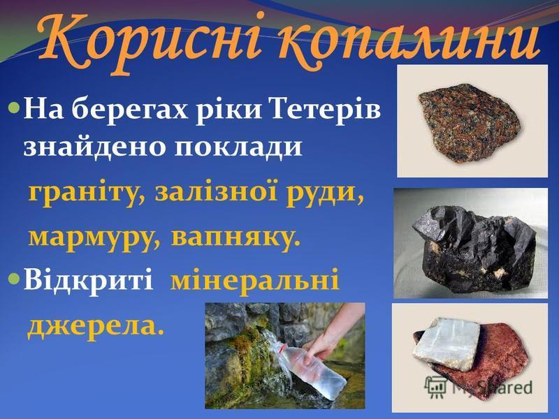 Корисні копалини На берегах ріки Тетерів знайдено поклади граніту, залізної руди, мармуру, вапняку. Відкриті мінеральні джерела.