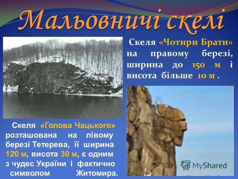Скеля «Голова Чацького» розташована на лівому березі Тетерева, її ширина 120 м, висота 30 м, є одним з чудес України і фактично символом Житомира. Скеля «Чотири Брати» на правому березі, ширина до 150 м і висота більше 10 м.