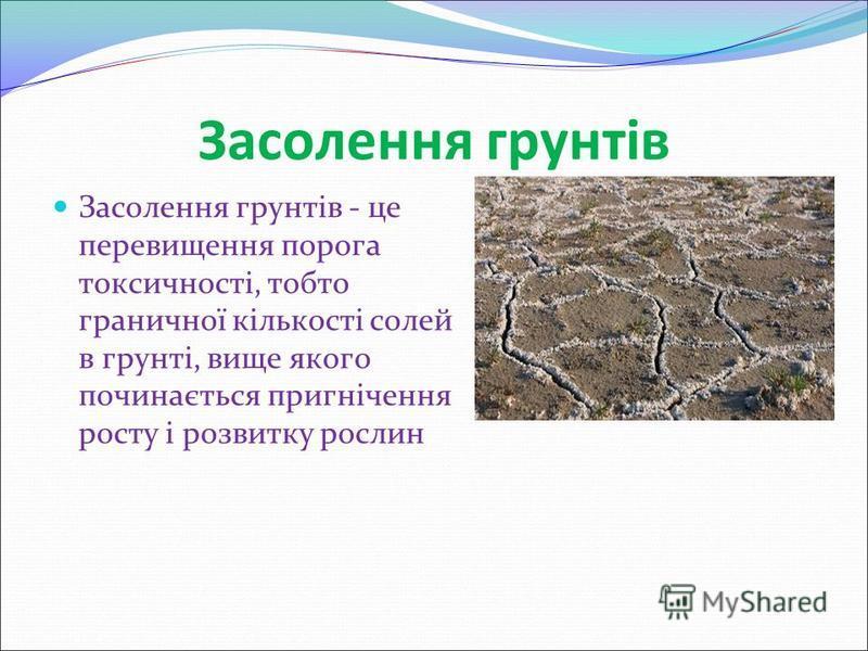 Засолення грунтів Засолення грунтів - це перевищення порога токсичності, тобто граничної кількості солей в грунті, вище якого починається пригнічення росту і розвитку рослин