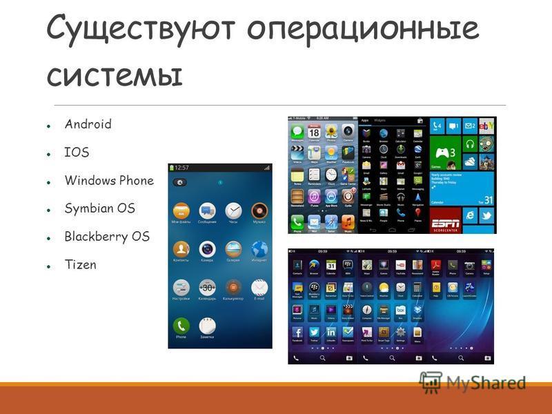 Существуют операционные системы Android IOS Windows Phone Symbian OS Blackberry OS Tizen