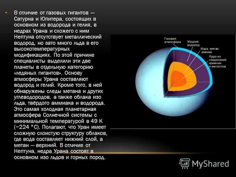 В отличие от газовых гигантов Сатурна и Юпитера, состоящих в основном из водорода и гелия, в недрах Урана и схожего с ним Нептуна отсутствует металлический водород, но зато много льда в его высокотемпературных модификациях. По этой причине специалист