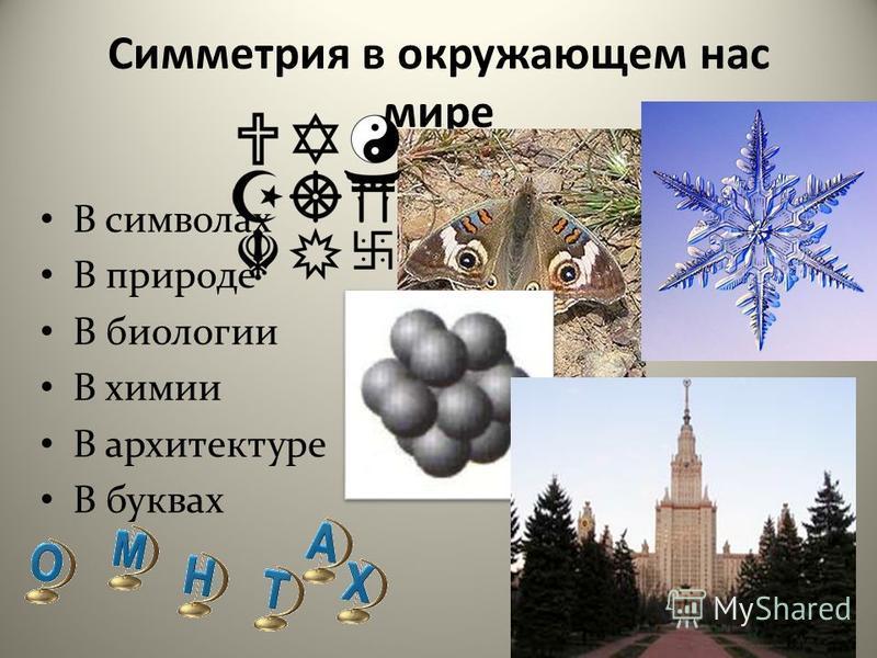 Симметрия в окружающем нас мире В символах В природе В биологии В химии В архитектуре В буквах