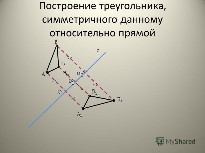 Построение треугольника, симметричного данному относительно прямой А с В D O
