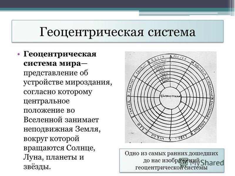 Геоцентрическая система Геоцентрическая система мира представление об устройстве мироздания, согласно которому центральное положение во Вселенной занимает неподвижная Земля, вокруг которой вращаются Солнце, Луна, планеты и звёзды. Одно из самых ранни