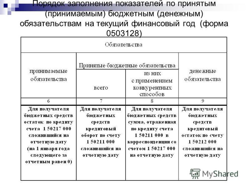 Порядок заполнения показателей по принятым (принимаемым) бюджетным (денежным) обязательствам на текущий финансовый год (форма 0503128)