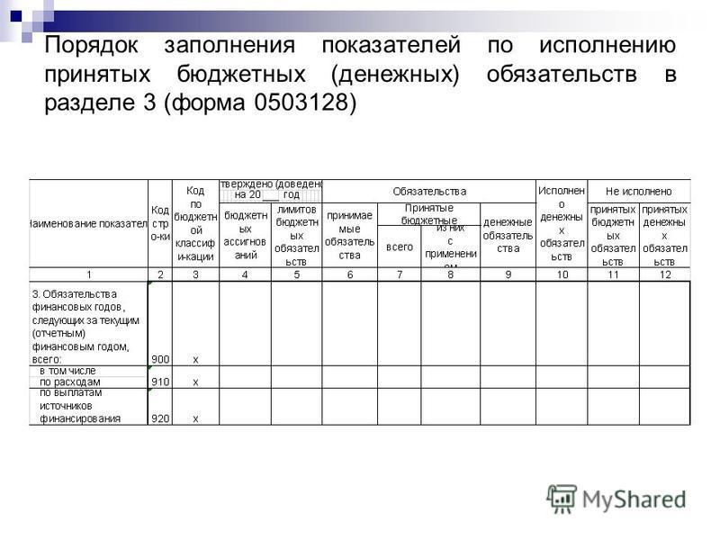 Порядок заполнения показателей по исполнению принятых бюджетных (денежных) обязательств в разделе 3 (форма 0503128)