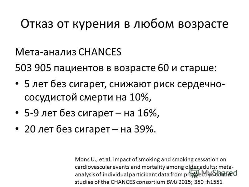 Отказ от курения в любом возрасте Мета-анализ CHANCES 503 905 пациентов в возрасте 60 и старше: 5 лет без сигарет, снижают риск сердечно- сосудистой смерти на 10%, 5-9 лет без сигарет – на 16%, 20 лет без сигарет – на 39%. Mons U., et al. Impact of s